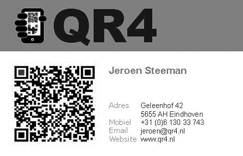 Business card front with vCard QR code